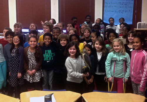 Alvin the falcon visits with Irving 3rd graders and the Green Team