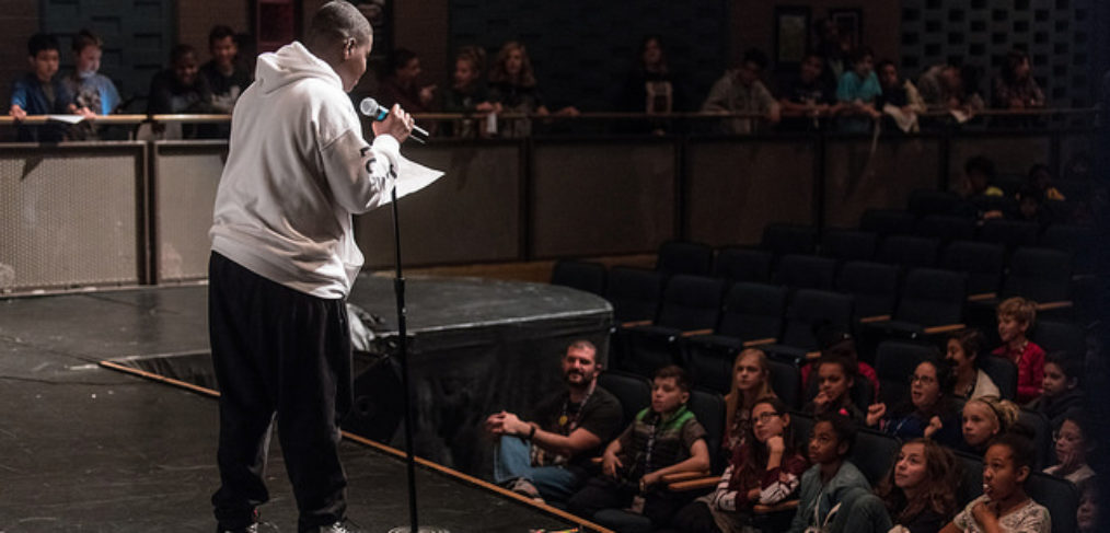 poetry slam boy and audience
